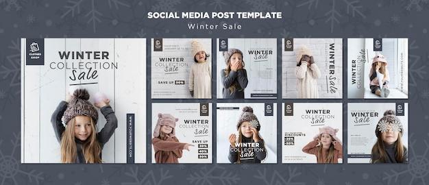 Śliczne Dziecko Zimowa Sprzedaż Kolekcji Na Instagramie Post Darmowe Psd