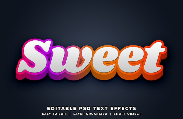 Słodki Kolorowy Efekt Stylu Tekstu 3d Premium Psd