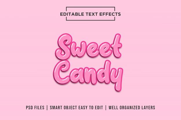 Słodki różowy cukierek, efekty tekstowe 3d premium psd Premium Psd