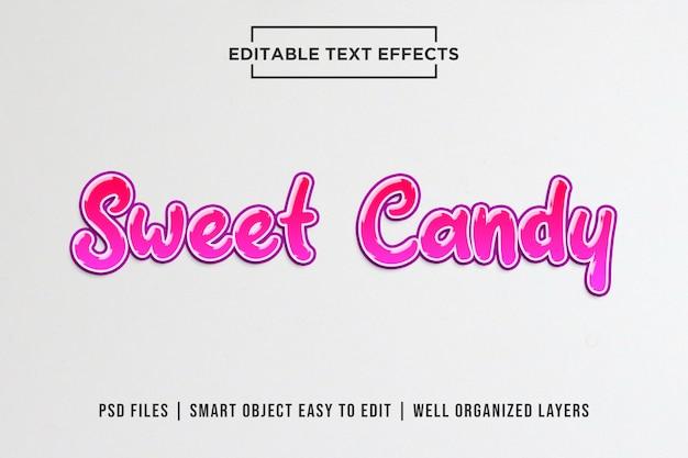 Słodkie cukierki edytowalne szablony efektów tekstowych Premium Psd
