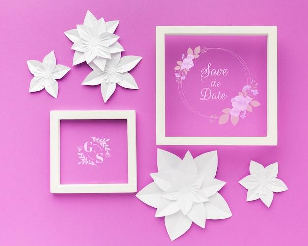 Ślubna Rama Z Papierowymi Kwiatami Na Purpurowej Tapecie Darmowe Psd