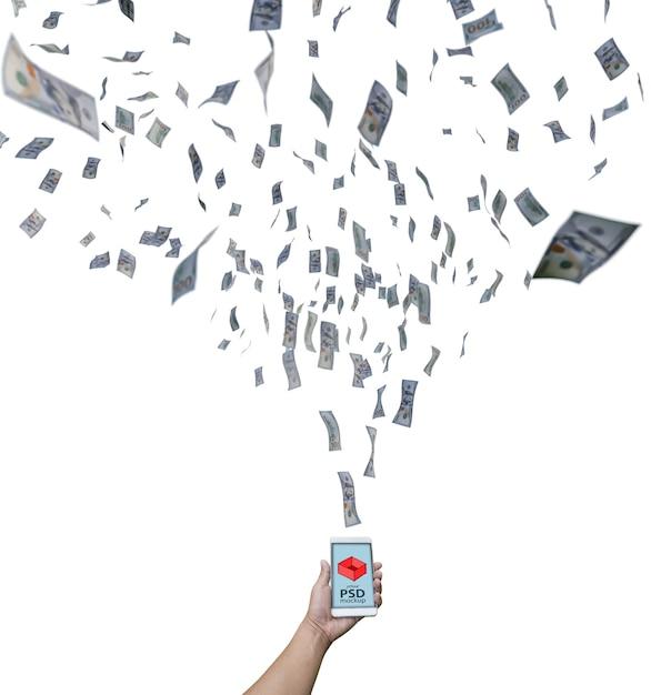 Smartphone Mockup Z Dolarowymi Rachunkami Lata W Kierunku Go Premium Psd