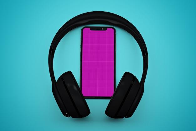 Smartphone Z Makiety Ekranu I Słuchawki, Koncepcja Aplikacji Muzyki Premium Psd