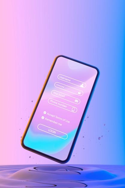 Smartphone ze stroną logowania i kolorowym płynnym tłem Darmowe Psd