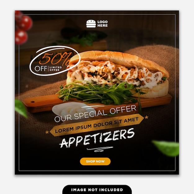 Social Media Banner Post Food Delicious Premium Psd