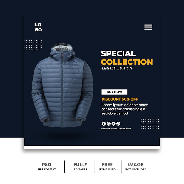 Social Media Post Instagram Kwadratowy Baner Szablon Specjalna Kolekcja Moda Premium Psd