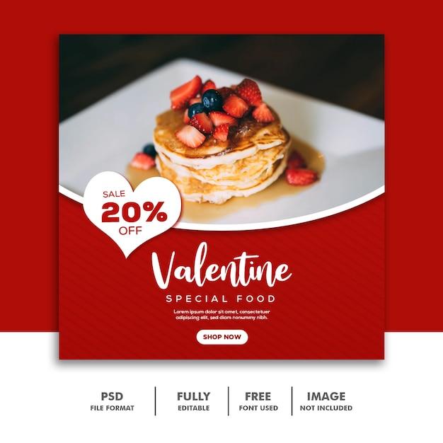 Social Media Post Instagram Valentine Banner, Food Cake Red Premium Psd