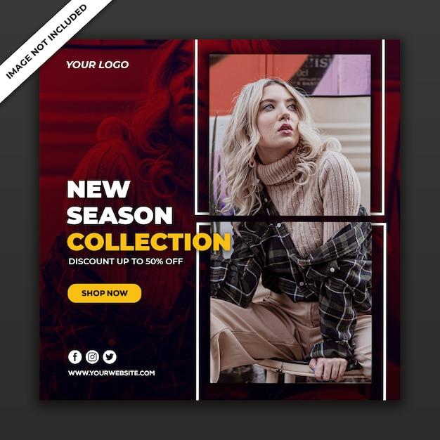 Social Media Post Szablon Transparent Nowa Dziewczyna W Stylu Mody Premium Psd