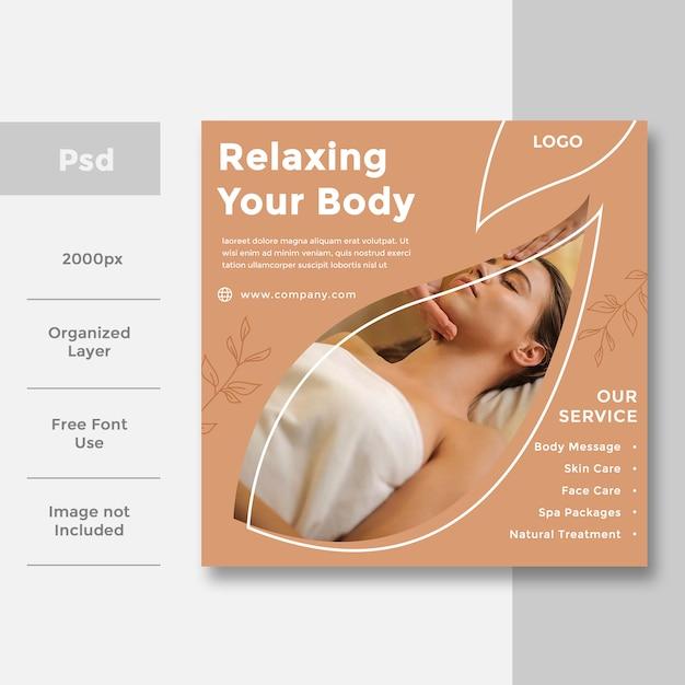 Spa & Beauty Projekt Reklamy Banerów Społecznościowych Premium Psd