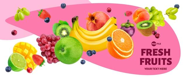 Spada owocowa sałatka odizolowywająca na białym tle Premium Psd