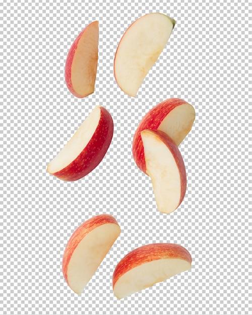 Spadające Plasterek Dojrzałe Czerwone Jabłko. Premium Psd