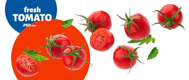 Spadający Dojrzały Pomidor Cherry Na Białym Tle Premium Psd