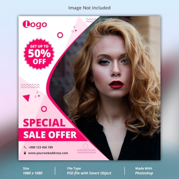 Specjalna oferta sprzedaży w mediach społecznościowych szablon transparent Premium Psd
