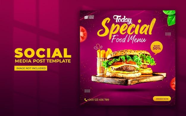 Specjalne Media Społecznościowe Menu żywności I Szablon Postu Na Instagramie Premium Psd