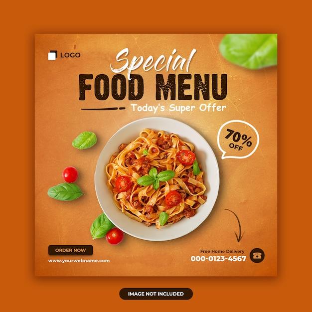 Specjalne Menu żywności Oferuje Projektowanie Banerów Społecznościowych Premium Psd