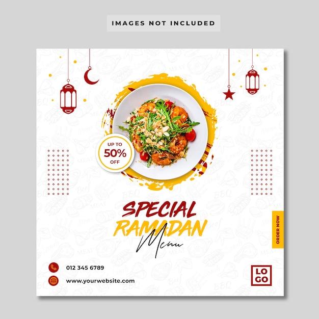 Specjalny Baner Ramadan Menu żywności Instagram Banner Premium Psd