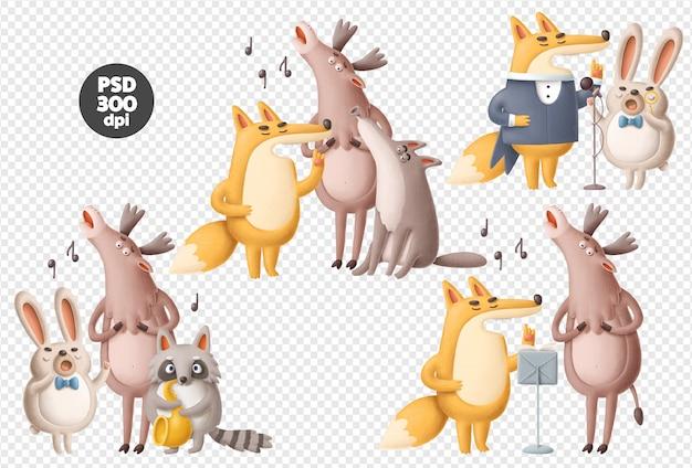 Śpiew Zwierząt Zestaw Psd Ilustracje Premium Psd