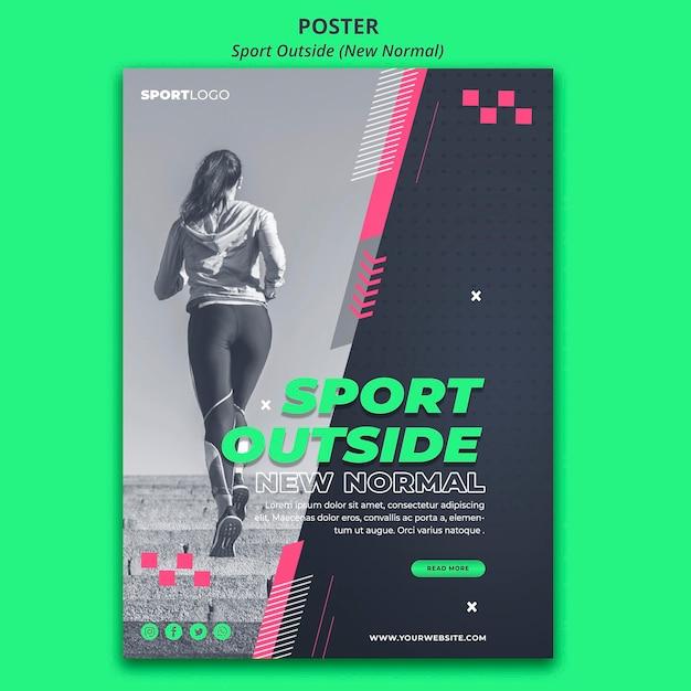 Sport Poza Stylem Plakatu Darmowe Psd