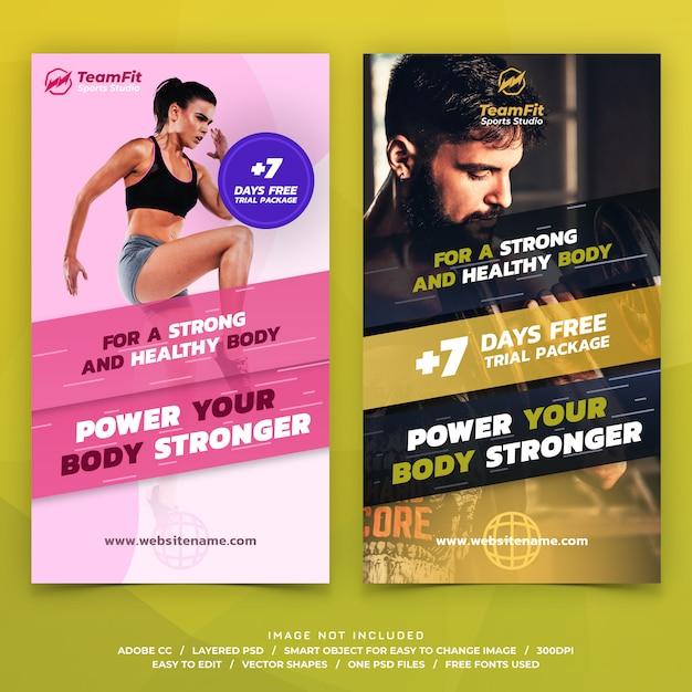 Sportowe szablon historie instagram banery Premium Psd