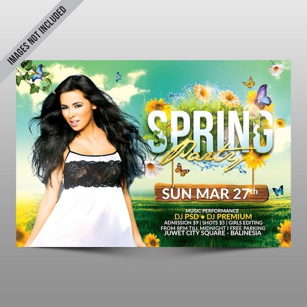 Spring party flyer poziome Premium Psd