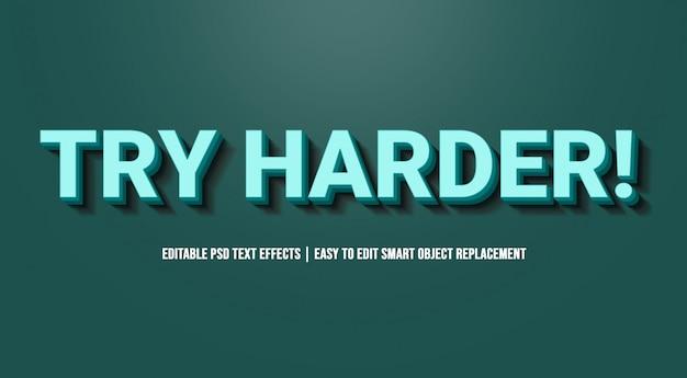 Spróbuj Harder Blue W Efektach Tekstowych Premium Psd