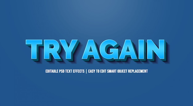 Spróbuj Ponownie W Efektach Niebieskiego Gradientu Tekstu Premium Psd