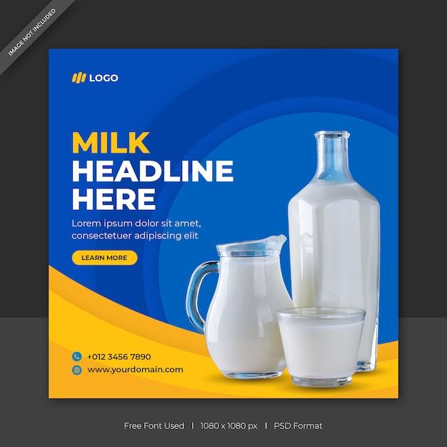 Sprzedaż Mleka W Mediach Społecznościowych Szablon Banera Lub Kwadratowy Post Sprzedaży Produktu Premium Psd
