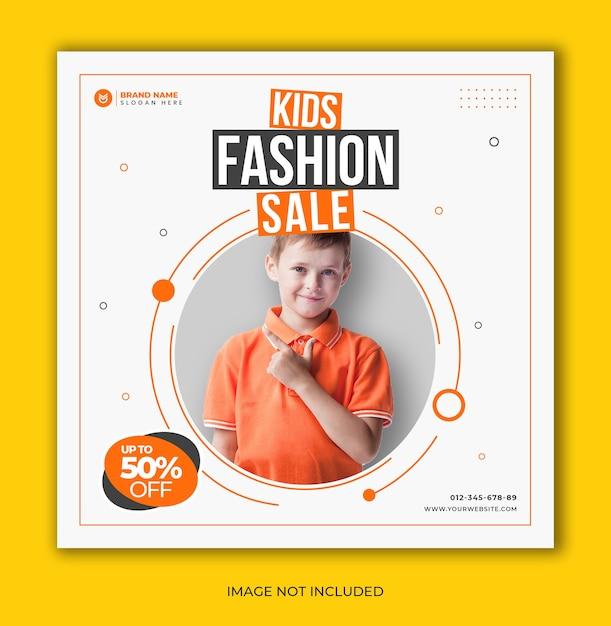 Sprzedaż Mody Dla Dzieci W Mediach Społecznościowych Instagram Post Szablon Transparent Premium Psd