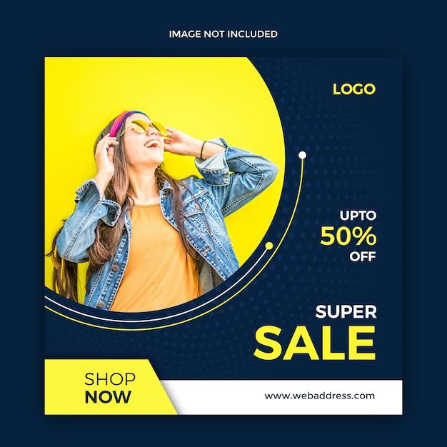 Sprzedaży internetowej sztandaru ogólnospołeczny medialny szablon Premium Psd