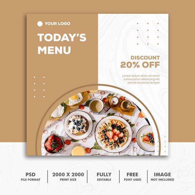 Square Banner Food Restaurant Gold Luxury Premium Psd
