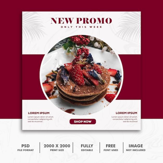 Square Banner Food Restaurant Red Luxury Premium Psd