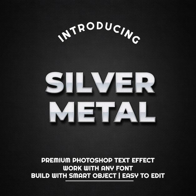 Srebrny metal - szablon efektu tekstowego Premium Psd