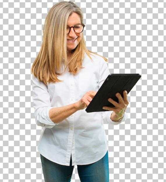 Starszy piękna kobieta z tablet z ekranem dotykowym Premium Psd