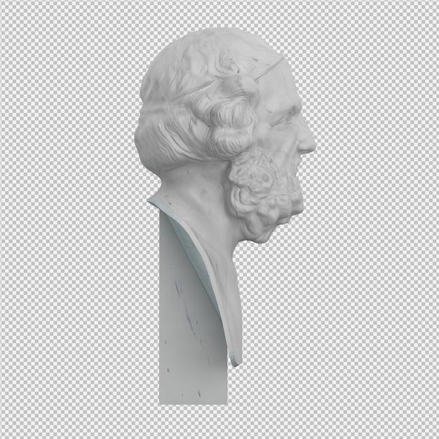 Stary człowiek statua 3d izolowane renderowania Premium Psd