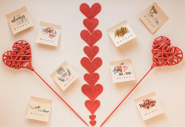 Sticky notes makieta z koncepcją valentine Darmowe Psd