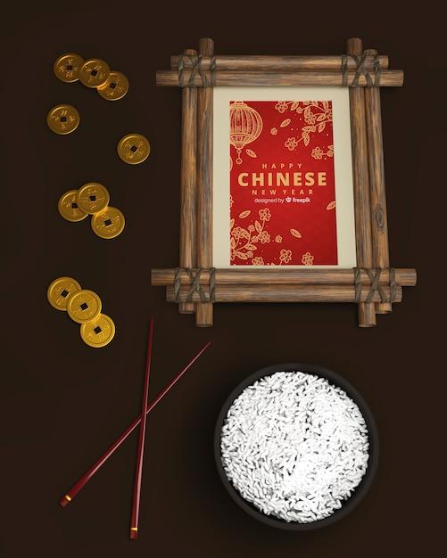 Stół Chiński Nowy Rok Z Ryżem Darmowe Psd