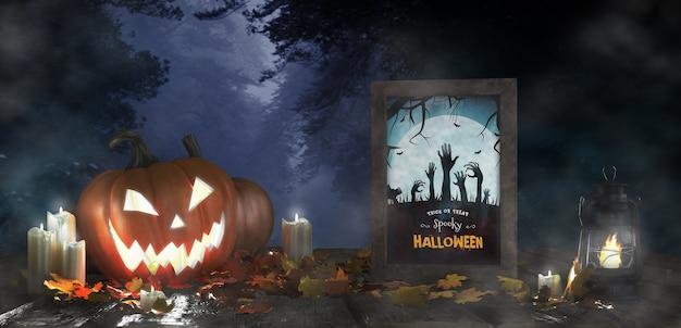 Straszna dekoracja na halloween z oprawionym plakatem z horrorem Darmowe Psd