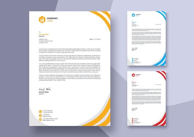 Streszczenie Kolorowy Biznes Papier Firmowy Szablon Projektu Premium Psd