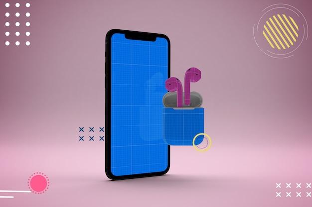 Streszczenie Makieta Telefonu Komórkowego I Słuchawek Premium Psd