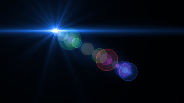 Streszczenie oświetlenia obiektywu cyfrowego flary w ciemnym tle Premium Psd