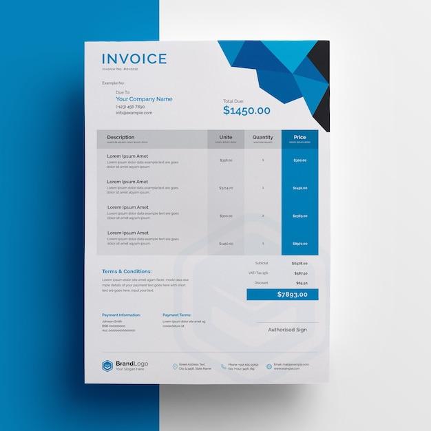 Streszczenie Projektu Szablonu Faktury Z Niebieskim Akcentem Premium Psd