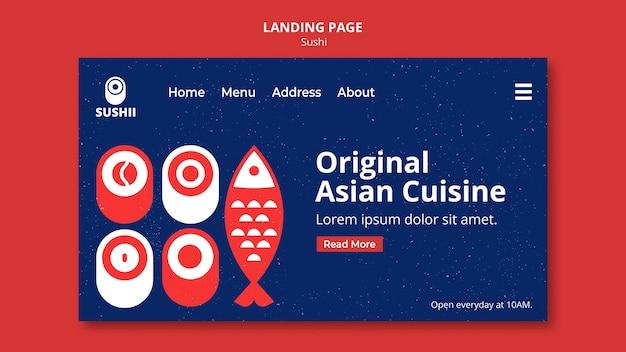 Strona Docelowa Festiwalu Japońskiego Jedzenia Z Sushi Premium Psd