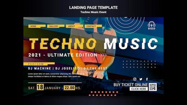 Strona Docelowa Imprezy Z Muzyką Techno Darmowe Psd