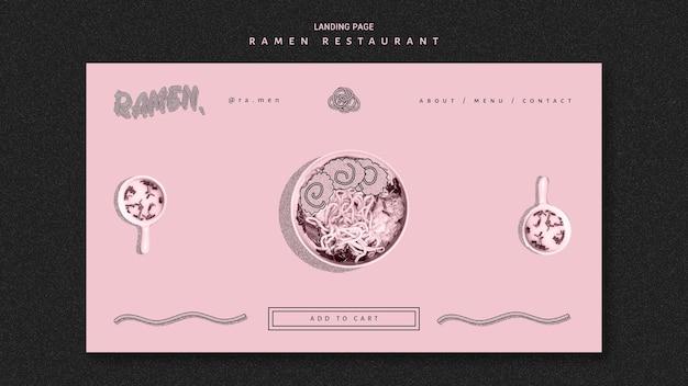 Strona Docelowa Restauracji Z Makaronem Ramen Darmowe Psd