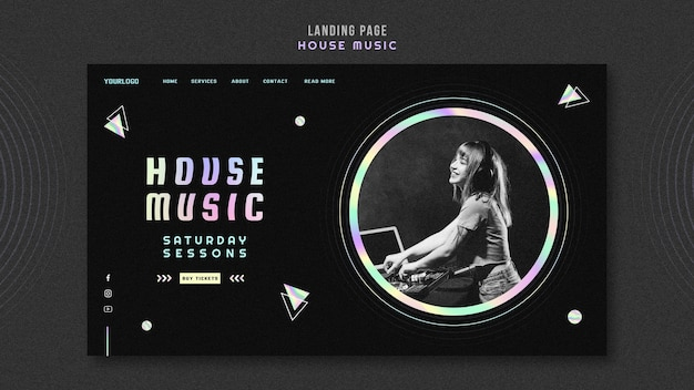 Strona Docelowa Szablonu Muzyki House Premium Psd