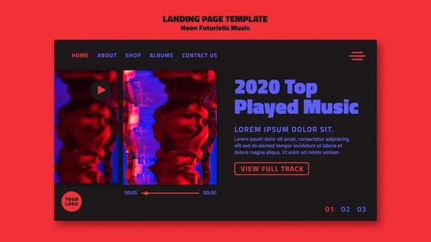 Strona Docelowa Szablonu Neonowej Muzyki Futurystycznej Darmowe Psd