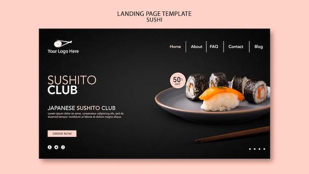 Strona Docelowa Szablonu Restauracji Sushi Premium Psd