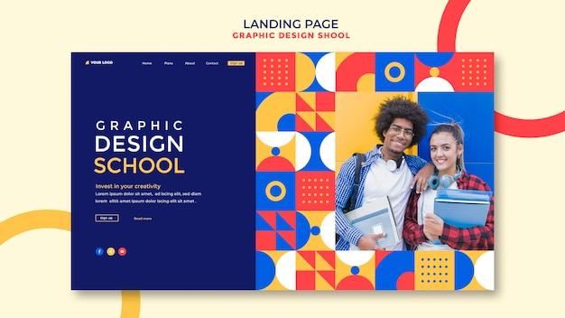 Strona Docelowa Szkoły Projektowania Graficznego Darmowe Psd