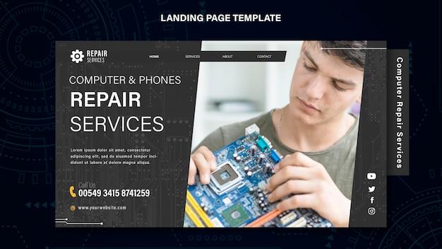 Strona Docelowa Usług Naprawy Komputerów I Telefonów Darmowe Psd