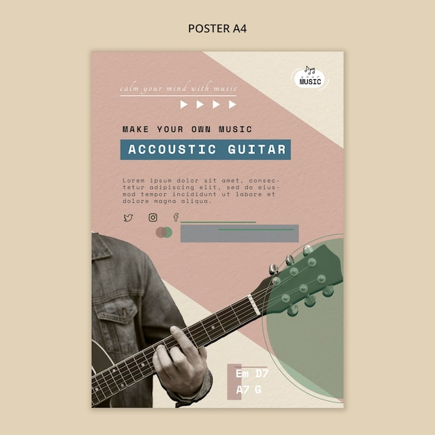Styl Szablonu Plakatu Lekcji Gitary Akustycznej Darmowe Psd